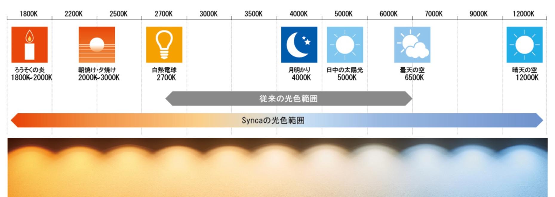 「Synca」の幅広い色温度範囲